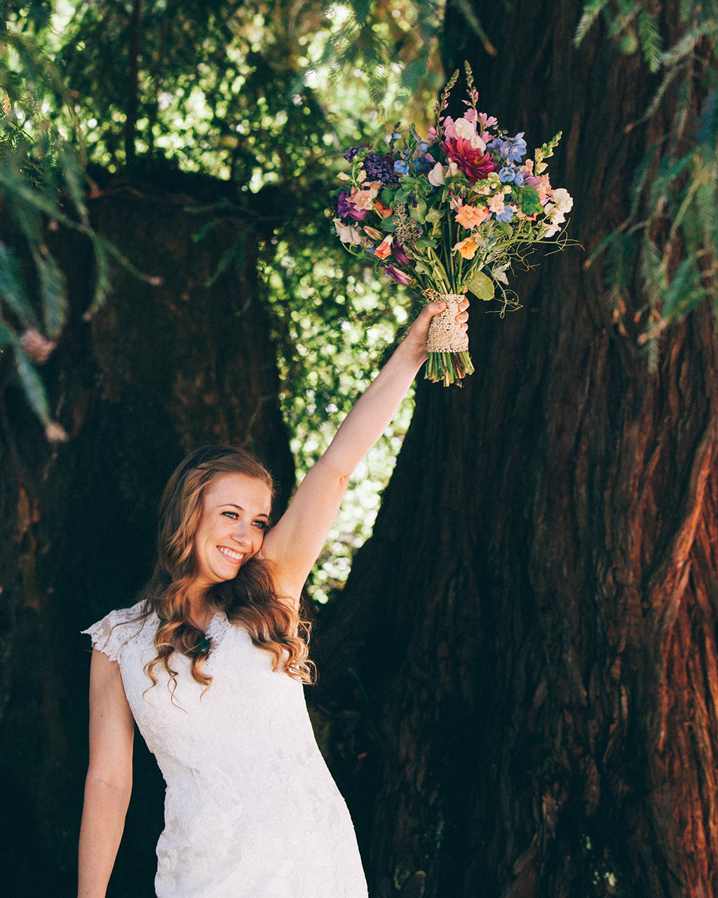 Santa Cruz Wedding Redwoods Fern River California bride and bouquet