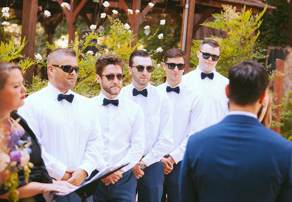 Santa Cruz Wedding Redwoods Fern River California best men